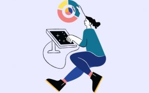 illustrated woman searching for free ui design resources online