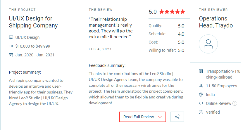 best ui ux design agency review on clutch for Leo9 Studio Mumbai India