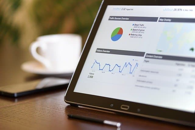 device showing marketing strategy metrics for your business